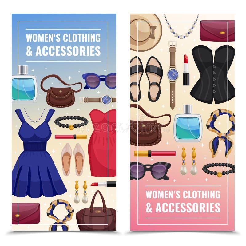 Women Accessories Vertical Banner Set stock illustration