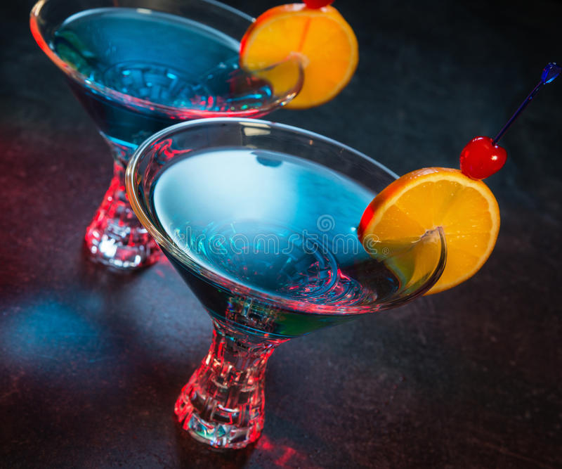 Two colorful blue cocktails stock photos