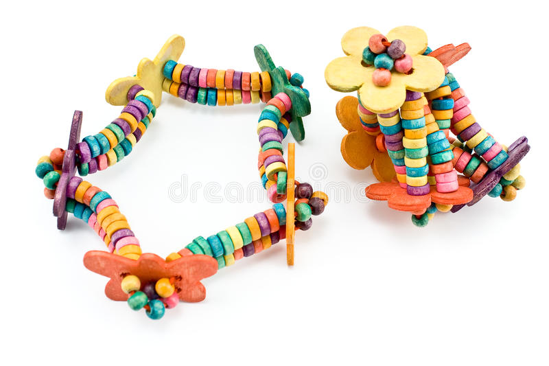 Two colorful elastic hair bands stock image