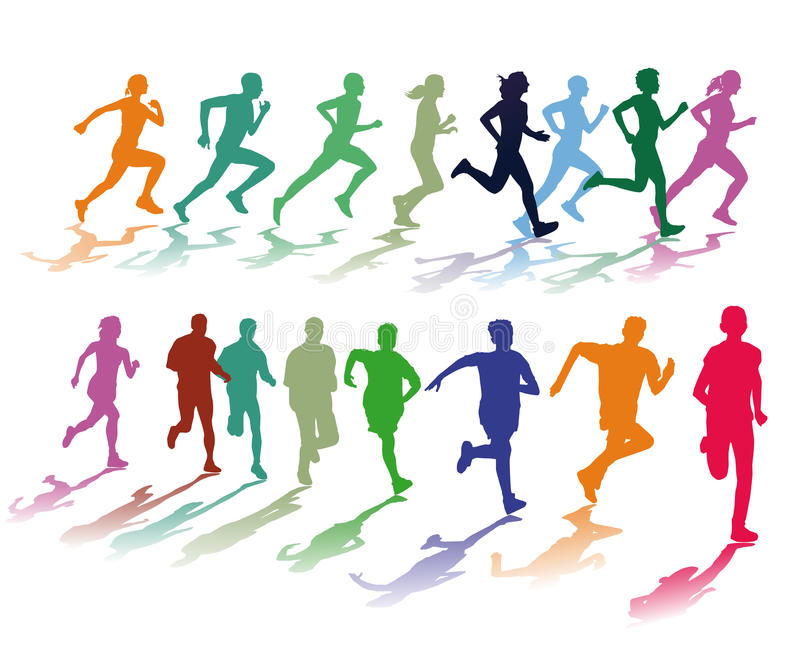 Two colorful groups of runners royalty free illustration