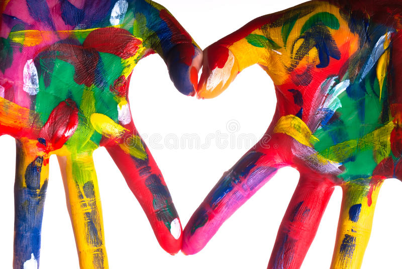 Two colorful hands forming a heart V1 royalty free stock photo