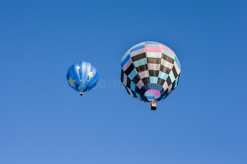 Two Colorful Hot Air Balloons royalty free stock photos