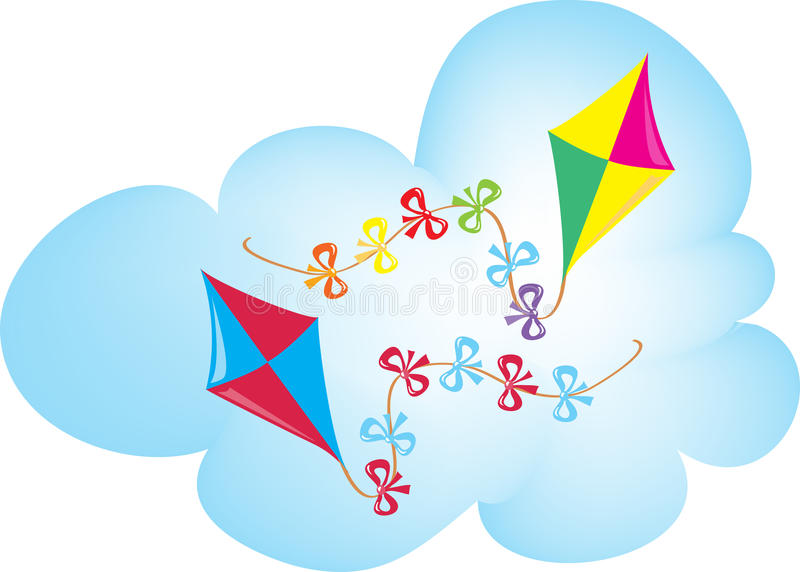Two colorful kites royalty free illustration