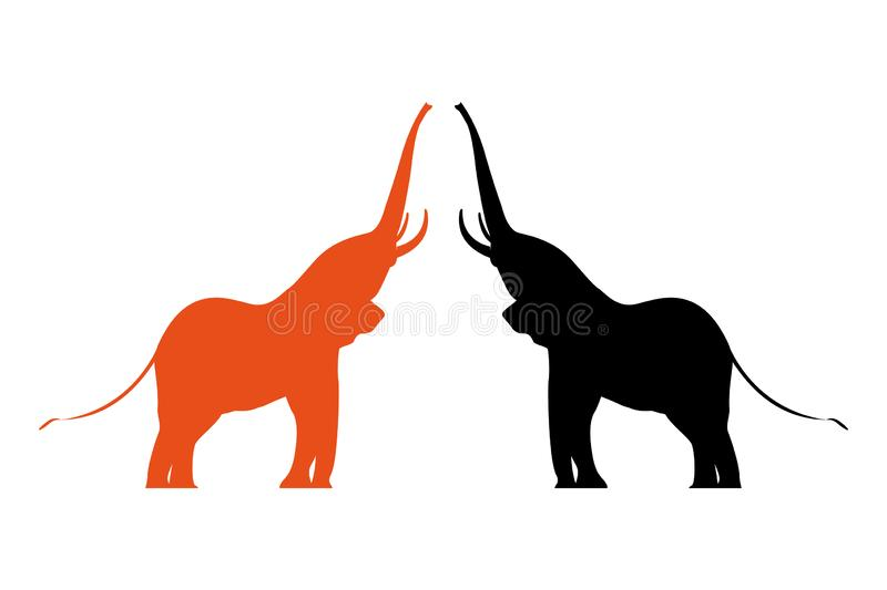Two colorful vector elephants with raised trunks. vector illustration