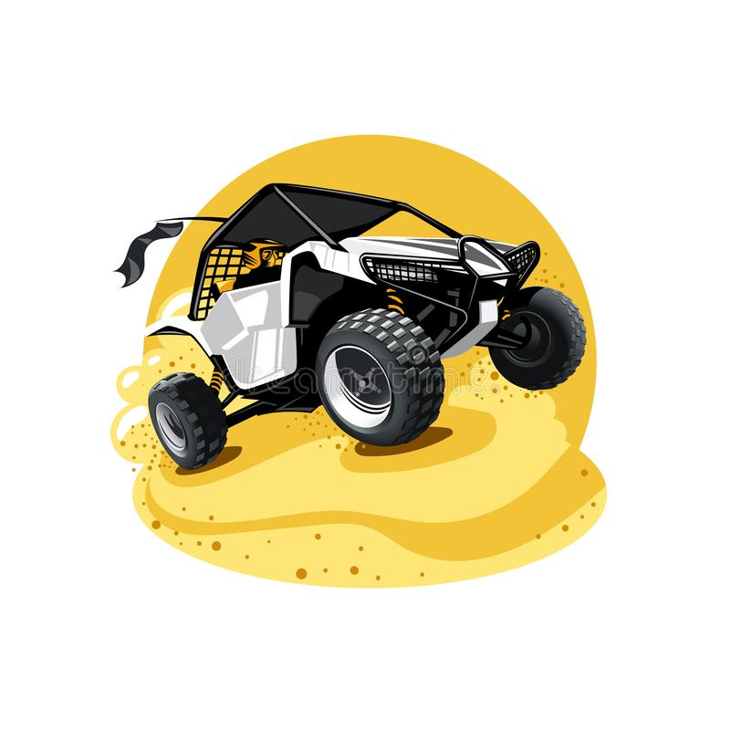 Off-Road ATV Buggy, rides true the sands. Yellow color. royalty free stock photography