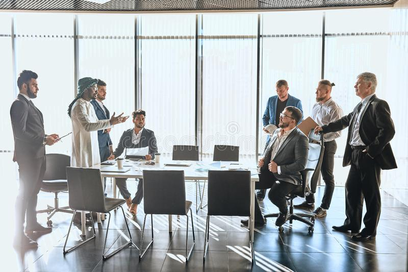 Two companies trying to solve conflict. Formal frindly conversation between enemies stock photos