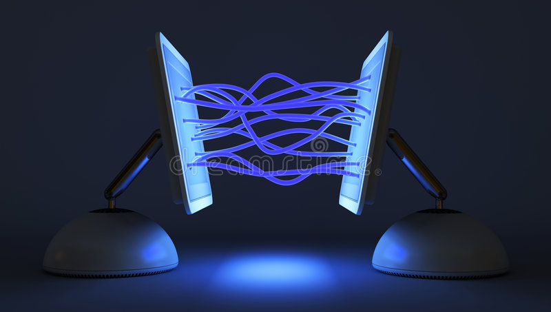 Two computer communicate with each other royalty free illustration