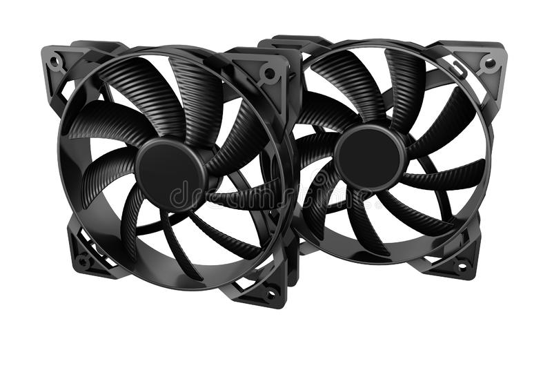 Two computer fans. Isolated on white background. 3D image stock illustration