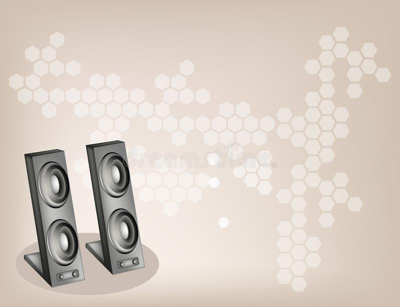 Download Two Computer Speaker On Beautiful Brown Background Stock Images - Image: 32289804