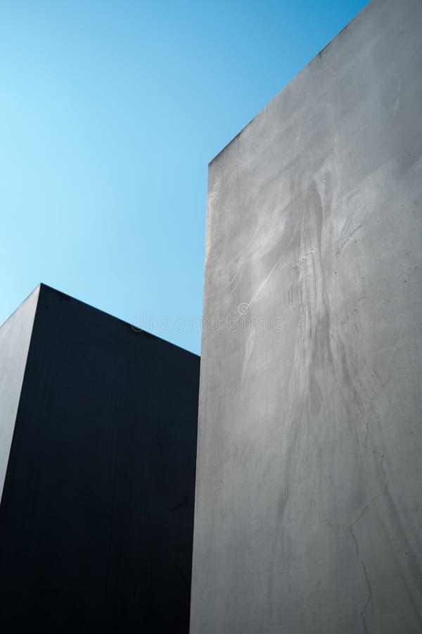 Two concrete pillars stock photography