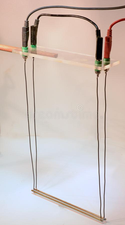 Conductors attract each other. Two conductors arranged as swings, attract earch other as the current runs same way, and their magnetic fields merge royalty free stock photos