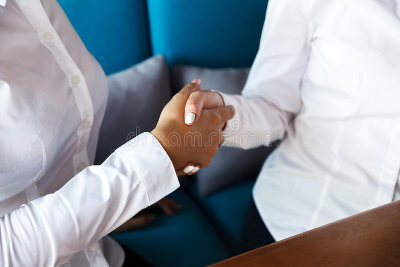 Two confident business women shaking hands during a meeting in the office, success, dealing royalty free stock image