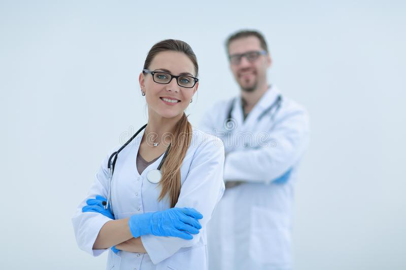 Two confident medical specialists. Wo confident medical specialists.photo with copy space royalty free stock images