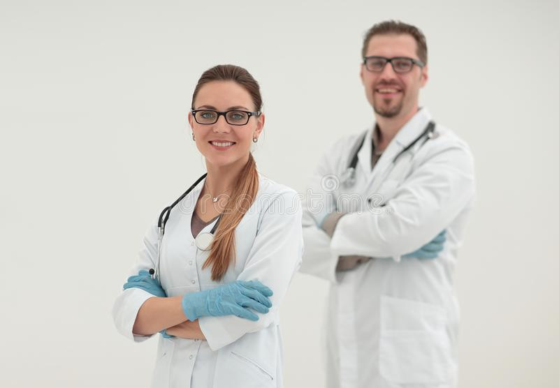 Two confident medical specialists. Wo confident medical specialists.photo with copy space stock photography