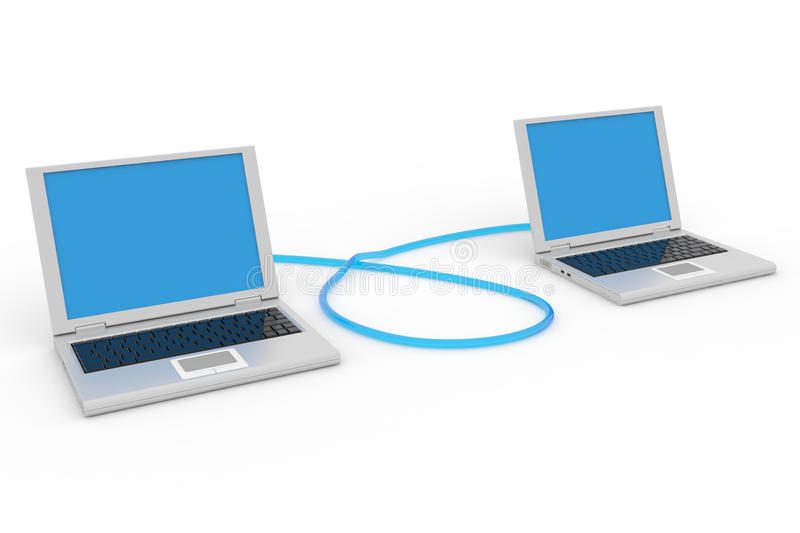 Two connected laptops. Computer network. Computer generated image stock illustration