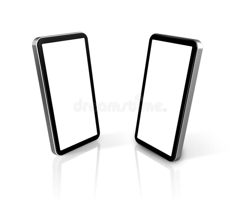 Two connected mobile phones stock illustration