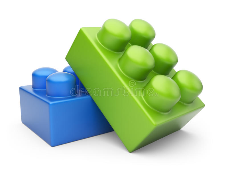 Download Two Construction Block 3D. Isolated Stock Illustration - Image: 24653996