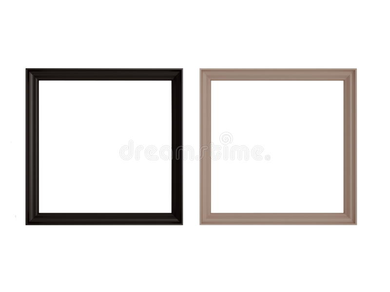 Two contrast wooden frames. Isolated on the white background, 3d rendering royalty free illustration