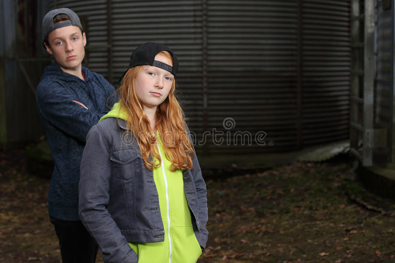 Two cool teens royalty free stock image