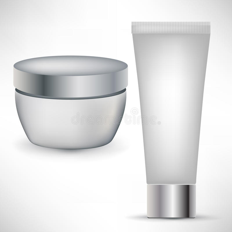 Two cosmetic beauty containers vector illustration