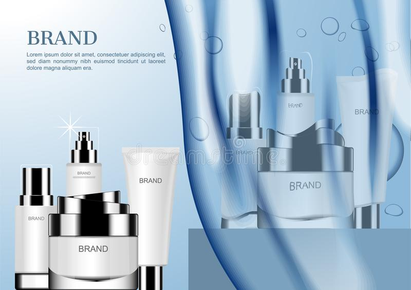 Two cosmetic sets and blue pouring water at front vector illustration