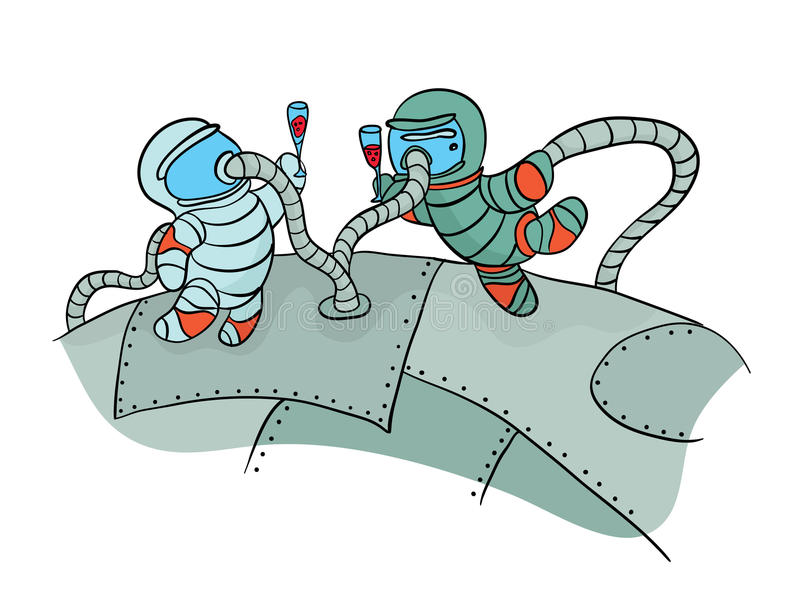 Two cosmonauts drinking wine in outer space. Funny picture to the day of cosmonautics. Vector Illustration, isolated on. Two cosmonauts drinking wine in outer vector illustration