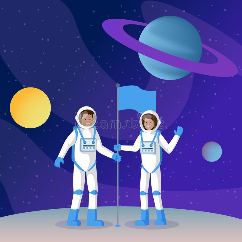 Two cosmonauts placing flag flat illustration. Male and female smiling astronauts in outer space waving hands cartoon. Characters. Another planet, moon landing vector illustration
