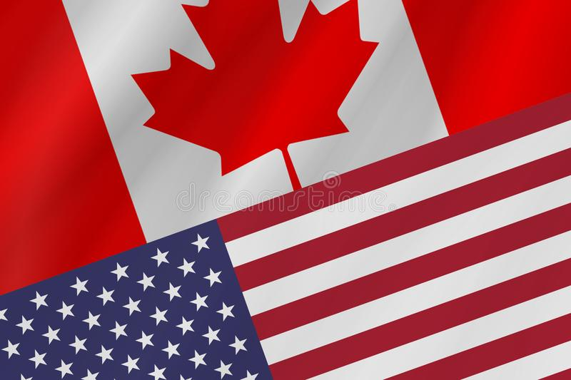 Two country flags of Canada and United States of America. royalty free stock images