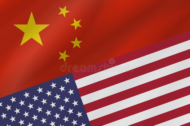 Two country flags of China and United States of America. royalty free stock photo