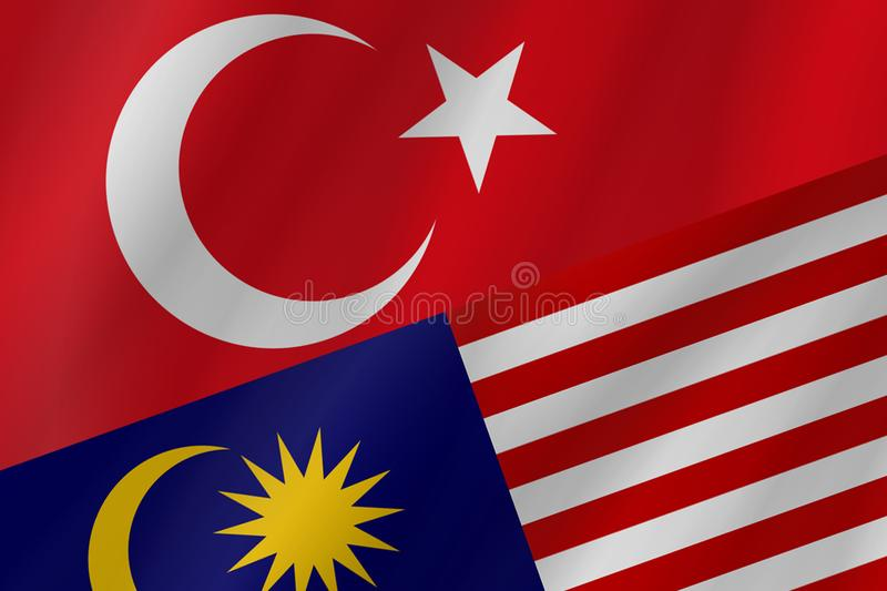 The two country flags of Republic of Turkey and Malaysia. royalty free stock images