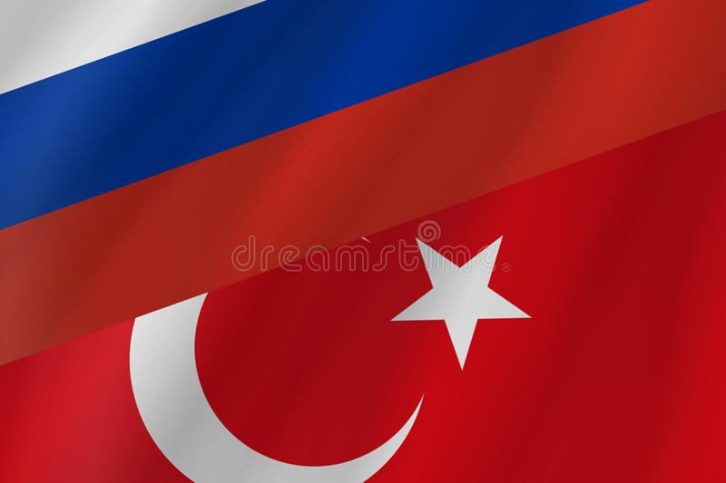 The two country flags of Republic of Turkey and Russian Federation. stock images