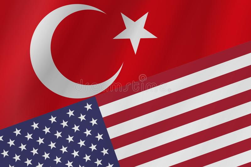 Two country flags of Republic of Turkey and United States of America. stock photo