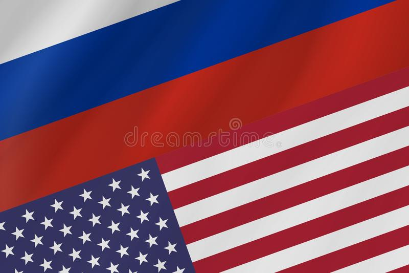 Two country flags of Russian Federation and United States of America. royalty free stock photo