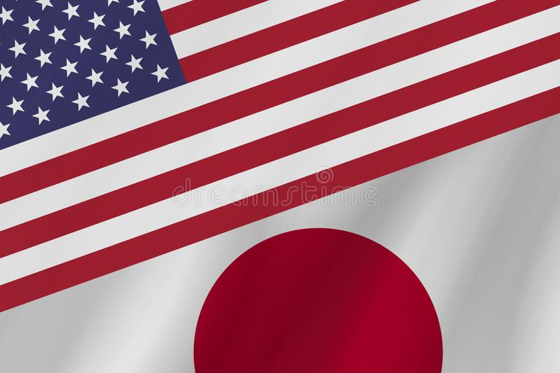 Two country flags of United States of America and Japan. stock photo