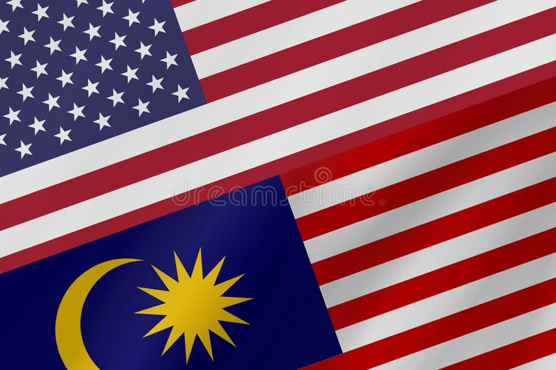 Two country flags of United States of America and Malaysia. royalty free stock images