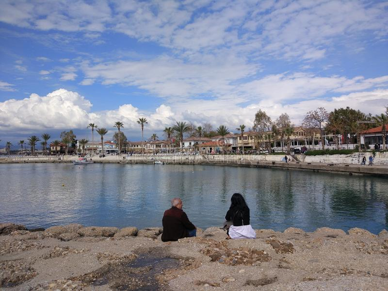 The two couples enjoy the sea in a sunny day. In Antalya Manavgat stock photo