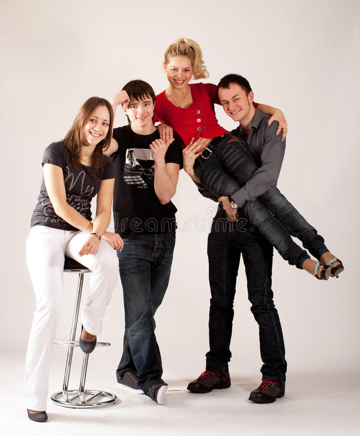 Two couples of teenagers