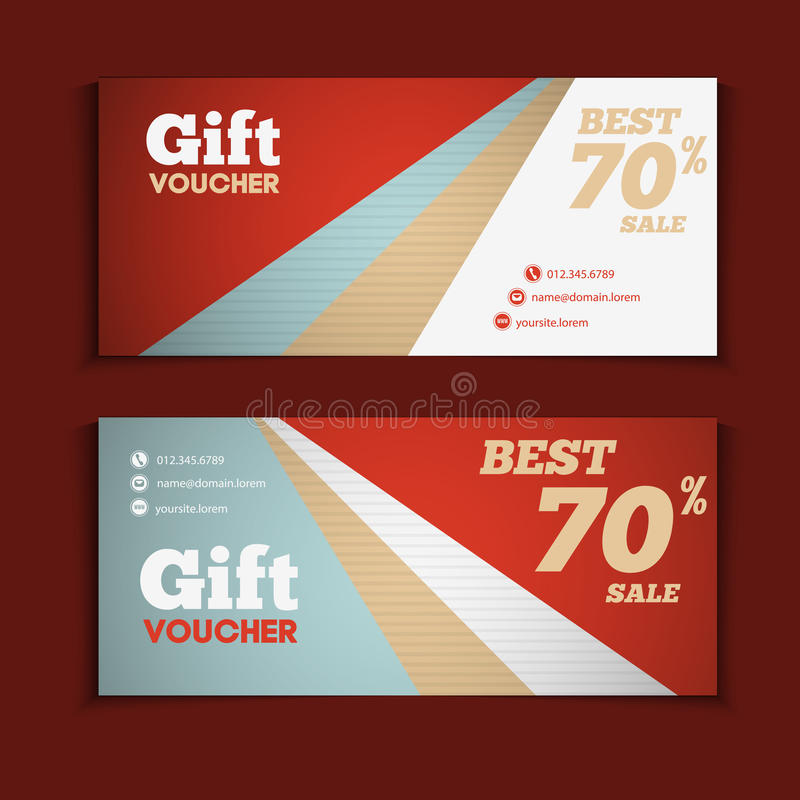 Download Two Coupon Voucher Design. Gift Voucher Template With Amount Of  Stock Vector   Illustration  Hotel Gift Certificate Template
