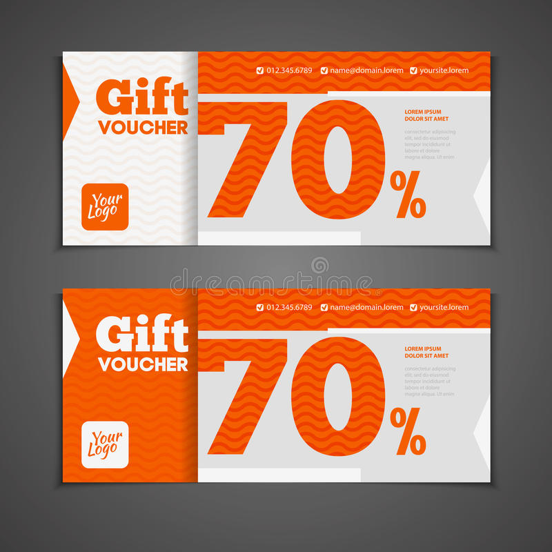 Two coupon voucher design. Gift voucher template with amount of. Discount and Contact Information. For hotel, restaurant, shop or other business vector illustration