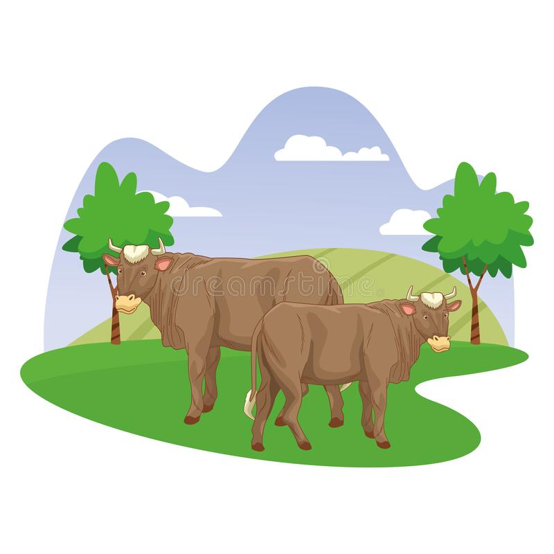 Two cows in nature scenery cartoon. Vector illustration graphic design vector illustration