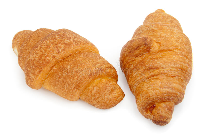 Two Croissants Isolated On White Stock Photo