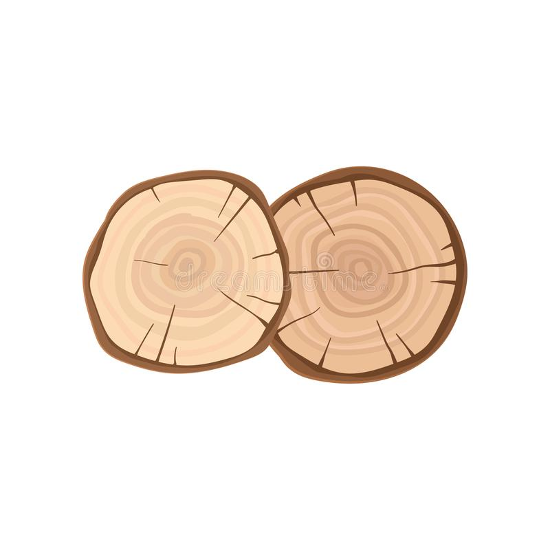 Two cross sections of tree trunks with annual growth rings. Organic material, natural texture. Flat vector icon royalty free illustration