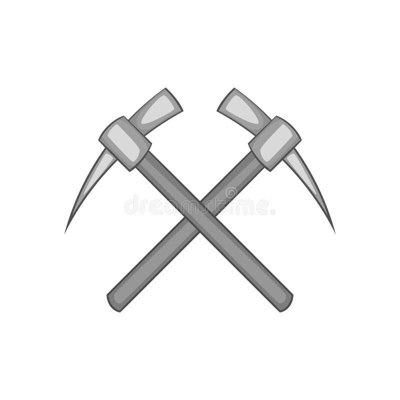 Two crosse picks icon, black monochrome style. Two crosse picks icon in black monochrome style on a white background vector illustration royalty free illustration