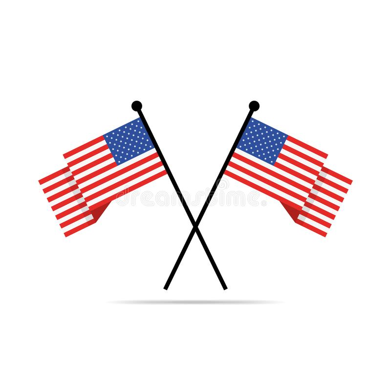 Free Two Crossed American Flags. Vector Illustration. Royalty Free Stock Image - 105249686