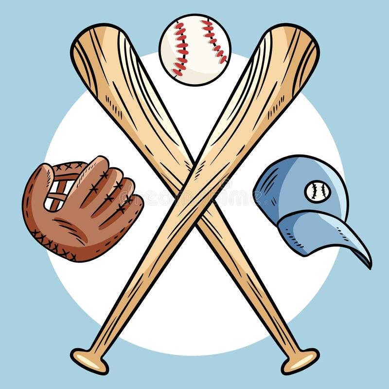 57949d57bb6 Two crossed baseball bats and ball, icon sports logo. Vector isolated  illustration,.