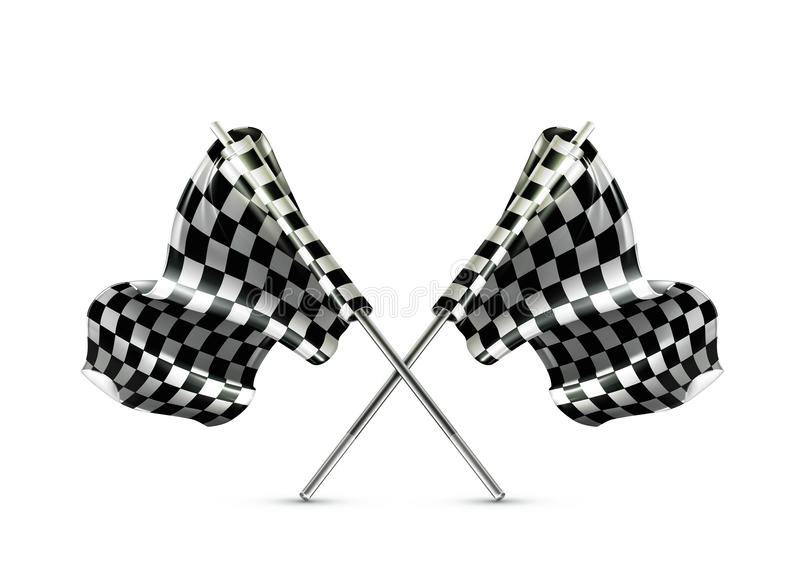 Download Two Crossed Checkered Flags Stock Vector - Illustration of finishing, grand: 24467151