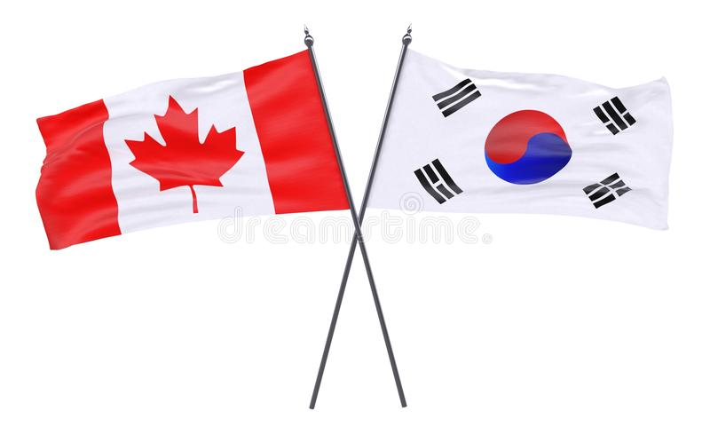 Two crossed flags stock illustration