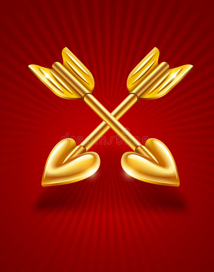 Download Two Crossed Gold Arrows Of Cupid With Hearts Stock Vector - Image: 22998637
