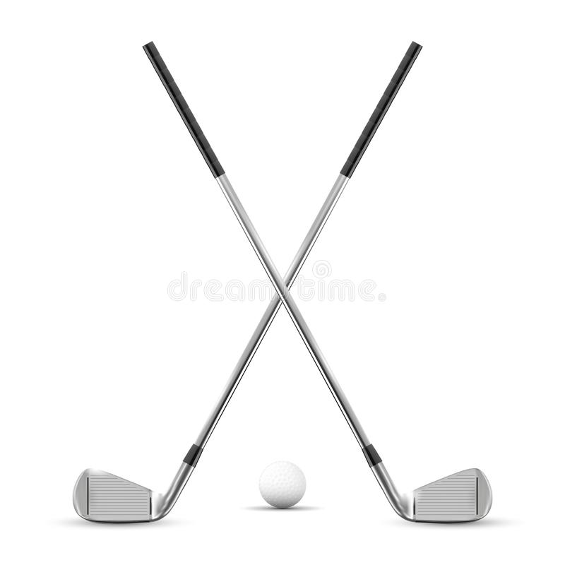 Free Two Crossed Golf Clubs And Ball Royalty Free Stock Images - 111948919