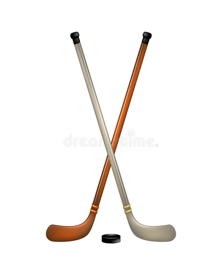 Two Crossed Ice Hockey Sticks And Puck Stock Photo